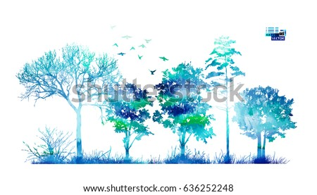 trees in the forest blue