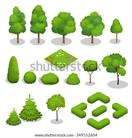 trees isometric flowers  grass