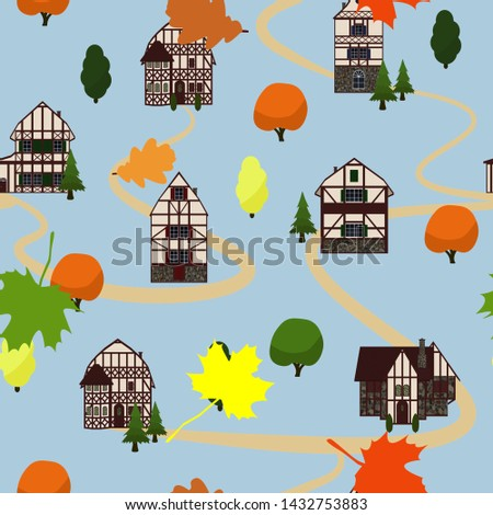 trees  leaves and houses