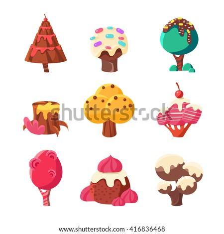 trees made of sweets set of