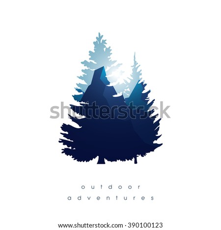 trees  mountains in double