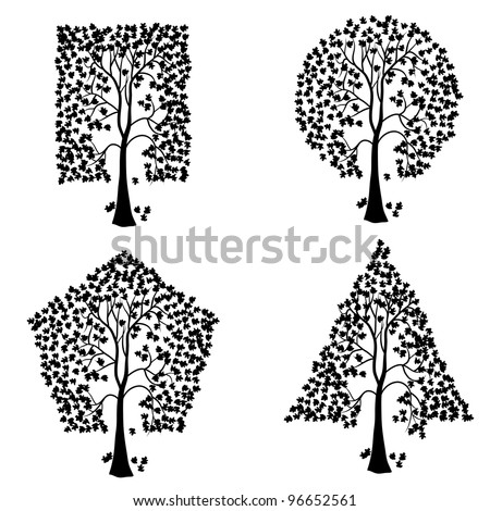 Trees of different geometric shapes. Vector set.