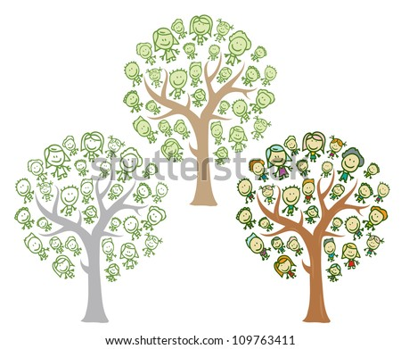 trees of family with happy kids