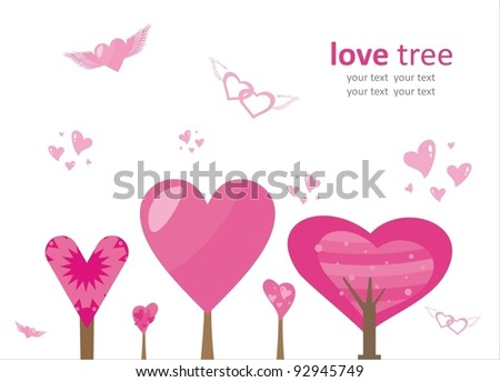 Trees of Love. Vector background