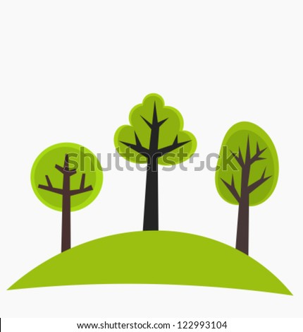 Trees on the hill - green vector illustration