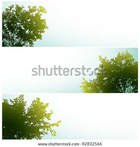 Trees over clear skies, nature vector backgrounds set with empty spaces for your own design elements to add.