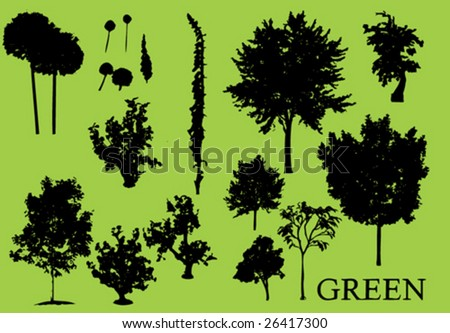 Trees  plant vector silhouette