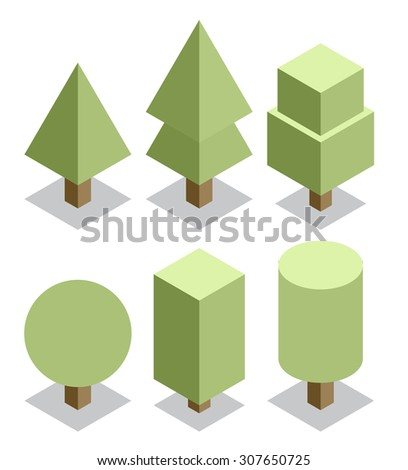 trees set 3d isometric vector