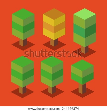 trees set 3d pixelate