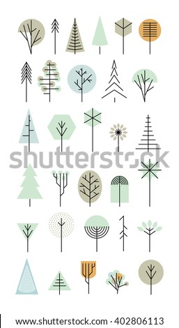 trees set geometric shapes