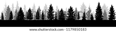 Trees,  silhouette of forest, vector