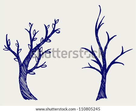 Trees silhouettes. Doodle style