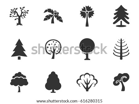 Trees vector icons for user interface design