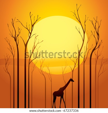 Trees went dried, a survivor walking through the tranquil sunset scene.  Symbolized global warming. - stock vector