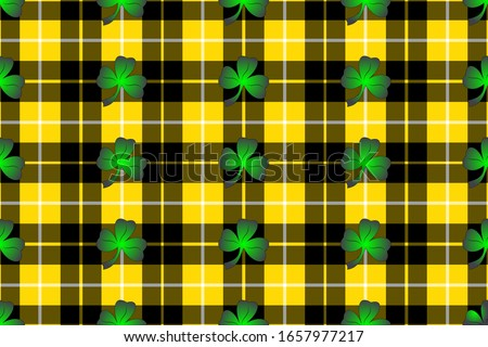 Trefoil on the background of Barclay tartan for St. Patrick's Day decoration