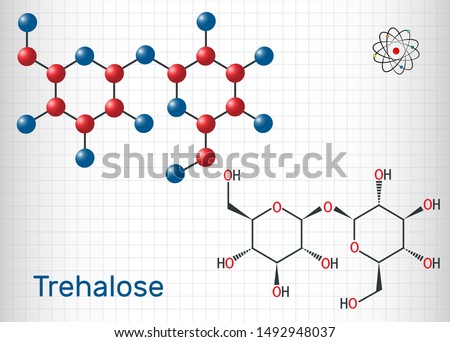 Trehalose, tremalose carbohydrate molecule. Also known as mycose. Is a disaccharide consisting of two molecules of glucose.  Sheet of paper in a cage. Vector illustration