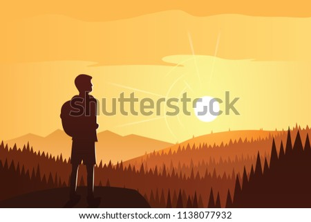 Trekker Contemplating Beautiful Forest and Mountains Scene