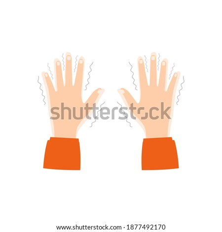 Tremor, trembling.Symptoms of various mental disorders, panic, fear, parkinson's disease.Shivering in the hands.Vector, isolated on white background Stock photo ©
