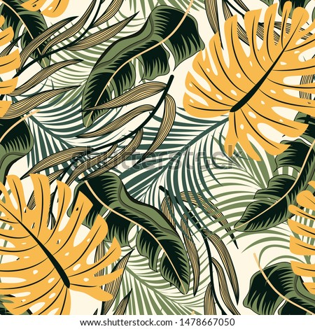 Trend abstract seamless pattern with colorful tropical leaves and plants on pastel background. Vector design. Jungle print. Floral background. Printing and textiles. Exotic tropics. Summer.