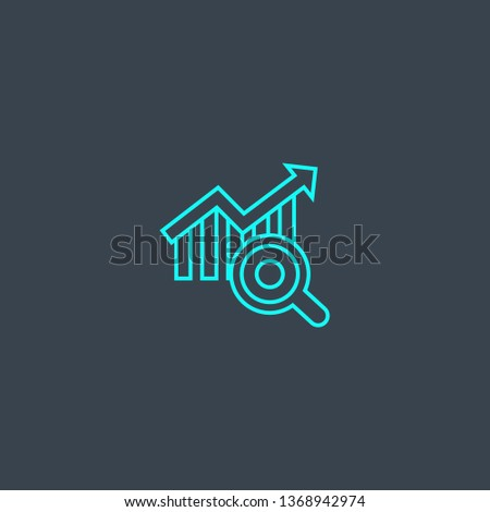 trend analyze concept blue line icon. Simple thin element on dark background. trend analyze concept outline symbol design. Can be used for web and mobile UI/UX