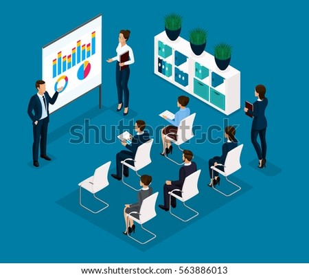 Trend Isometric people communicating concept rear view, large office room, meeting, discussion, brainstorming, business, and business ladies in suits isolated on a light background. Vector illustratio
