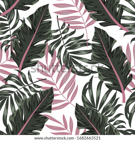 Trend summer seamless pattern with tropical plants on a white background. Trendy summer Hawaii print. Floral pattern. Creative abstract background. Jungle leaves. Exotic wallpaper.