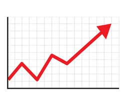 trend up graph icon in trendy isolated on white background. flat style. stock sign. growth progress red arrow icon for your web site design, logo, app, UI. line chart symbol.