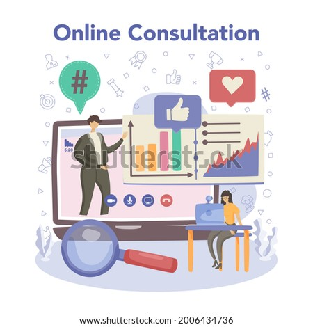 Trend watcher concept. Specialist in tracking the emergence of new business trends. Market trend analysis and project promotion. Flat vector illustration Stock photo ©