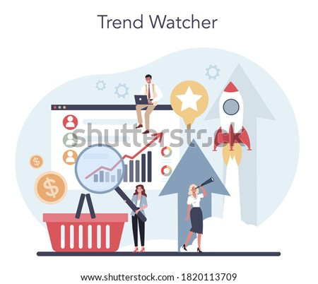 Trend watcher concept. Specialist in tracking the emergence of new business trends. Trend analysis and project promotion. Vector illustration in flat style Stock photo ©