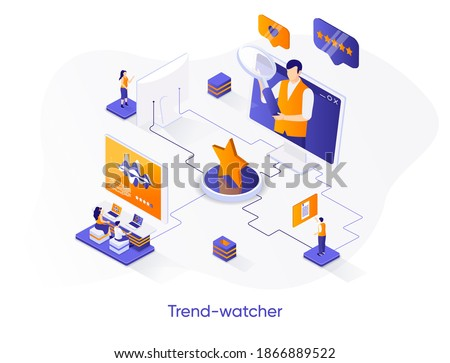Trend-watcher isometric web banner. Professional trend watching occupation isometry concept. Marketing research and data analysis 3d scene, flat design. Vector illustration with people characters. Stock photo ©