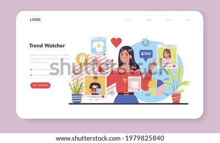 Trend watcher web banner or landing page. Specialist in tracking the emergence of new business trends. Trend analysis and project promotion. Vector illustration in flat style Stock photo ©