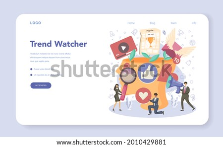 Trend watcher web banner or landing page. Specialist in tracking the emergence of new business trends. Market trend analysis and project promotion. Flat vector illustration Stock photo ©