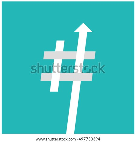 Trending Hashtag (Art Vector Illustration in Flat Style Design)