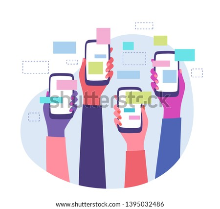 Trending topics and global communication. Diverse group of friends sharing news and messages on social media groups. Hands holding smartphones with online content around. Flat style vector