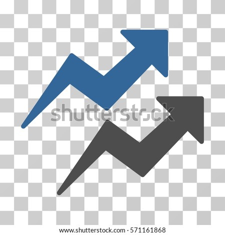 Trends icon. Vector illustration style is flat iconic bicolor symbol, cobalt and gray colors, transparent background. Designed for web and software interfaces.