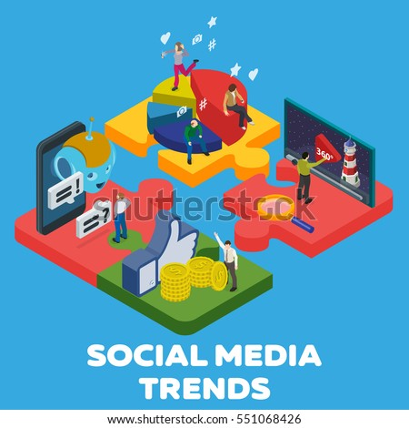 Trends in social media 2017. Flat 3d isometric banner. Chatbot, video 360 degrees, SMM promotion, online analytics. People in different poses at work. 3d puzzle pieces. Vector illustration