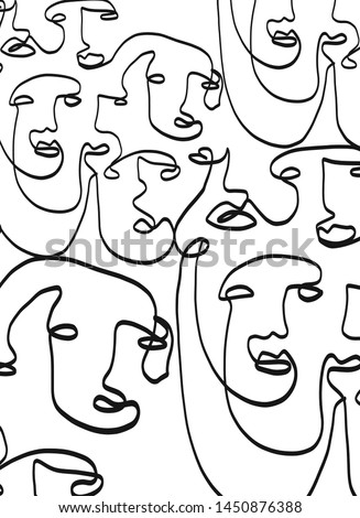Trendy abstract art with linear collection of cubism faces.  Graphic black and white outline continuous drawing.