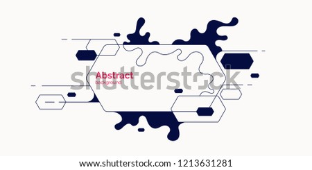 Trendy abstract background. Composition of geometric shapes and splash. Vector illustration #1213631281