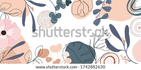 Trendy Abstract background with Shapes and floral element in Neutral Tones. Modern geometric vector for create stationary, Wrappers, posters, blogs, wallpapers. Vector illustration.