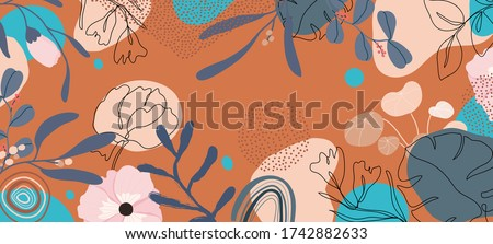 Trendy Abstract background with Shapes and floral element in Neutral Tones. Modern geometric vector for create stationary, Wrappers, posters, blogs, wallpapers. Vector illustration.  Photo stock ©