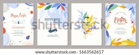 Trendy abstract Easter templates. Good for poster, card, invitation, flyer, cover, banner, placard, brochure and other graphic design. Vector illustration.