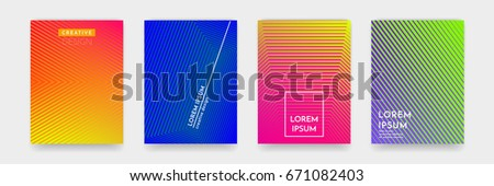 Trendy abstract geometric line pattern background for business brochure cover design. Bright orange, blue, yellow and green gradient vector banner poster template #671082403