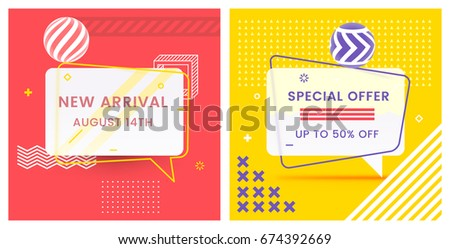 Trendy Abstract Geometric Vector Bubbles. New Arrival and Special Offer. Vivid Transparent Banner in Retro Poster Design Style. Vintage Colors and Shapes in Memphis Style. Red and Yellow Colors.