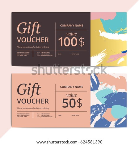 Trendy abstract gift voucher card templates. Modern luxury discount coupon or certificate layout with artistic brush stroke pattern. Vector fashion background design with information sample text.