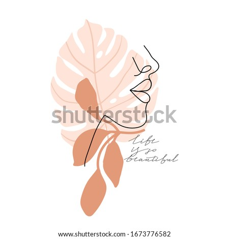 """Trendy abstract one line woman face with leaves and calligraphy phrase. Typography slogan design """"life is so beautiful"""" sign. Continuous line print for textile, poster, card, t-shirt etc. Vector."""