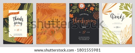 Trendy abstract Thanksgiving templates. Good for invitation, card, flyer, cover, banner, placard and brochure. Vector illustration.