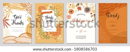 Trendy abstract Thanksgiving templates. Good for invitation, card, flyer, cover, banner, placard and brochure.