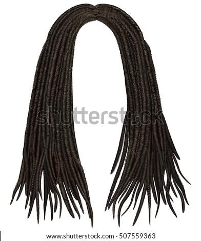 Shutterstock trendy african long  hair dreadlocks . realistic  3d . fashion beauty style .