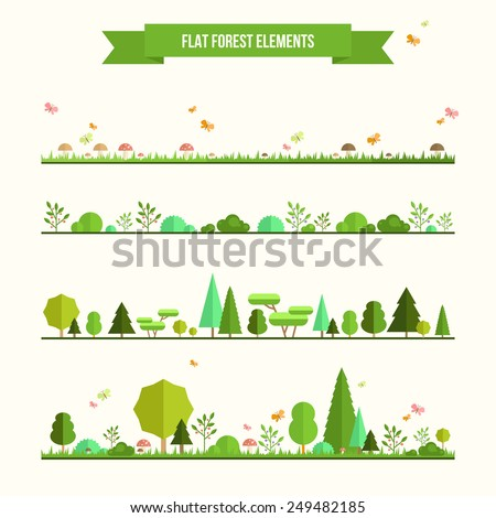 Trendy and beautiful set of flat forest elements. Include grass, mushrooms, berries, bushes and trees