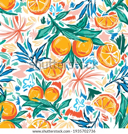 Trendy and colourful of Summer fruits Orange and leaves brushed strokes style, seamless pattern vector ,Design for fashion , fabric, textile, wallpaper, cover, web , wrapping and all prints
